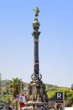 Monumento a Christopher Columbus en Barcelona Foto de archivo libre de regalías