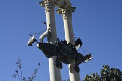 Monumento a Christopher Columbus in Siviglia in Andalusia Spagna fotografie stock