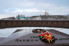 Monumento commemorativo ai soldati di grande guerra patriottica nella città di Dmitrov Fotografie Stock Libere da Diritti
