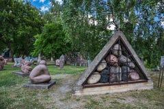 Monumento con i ritratti dei cittadini di Georgievsk che hanno combattuto in immagini stock
