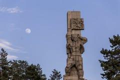 Monumento con la luna Fotografia Stock