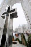 Monumento cruzado metálico enorme Imagen de archivo libre de regalías