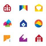 Monumento da casa da construção civil dos bens imobiliários com ícone do logotipo da paixão ilustração stock