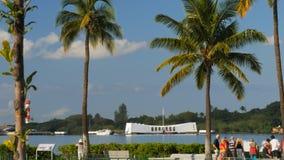 Monumento de Arizona y los argumentos en el Pearl Harbor almacen de video