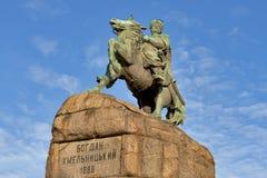 Monumento de Bohdan Khmelnytsky em Kiev, Ucrânia. Fotos de Stock Royalty Free