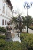 Monumento de bronze aos cossacos e ao cossaco a cavalo foto de stock royalty free
