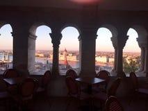 Monumento de Budapest en la puesta del sol Foto de archivo libre de regalías