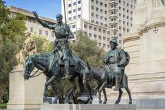 Monumento de Cervantes, Madrid Imagen de archivo libre de regalías