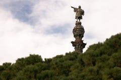 Monumento de Christopher Columbus en el puerto de Barcelona imagen de archivo