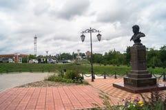 Monumento de general Seslavin en la ciudad de Rzhev, región de Tver, Rusia Imagen de archivo