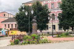 Monumento de general Seslavin en la ciudad de Rzhev, región de Tver, Rusia Fotos de archivo libres de regalías