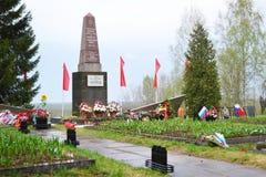 Monumento de guerra en las alturas de Sinyavino Imagenes de archivo