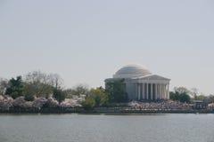 Monumento de Jefferson con los flores Imagenes de archivo