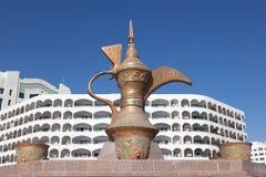 Monumento de la cafetera en Fudjairah Imagenes de archivo