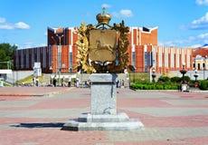 Monumento de la historia del emblema de Tomsk, Rusia Fotografía de archivo libre de regalías