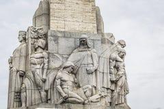 Monumento de la libertad mujer que sostiene tres estrellas del oro que símbolo Imágenes de archivo libres de regalías