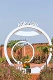 Monumento de la muestra de la travesía del ecuador en Uganda Fotografía de archivo