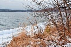 Monumento de la naturaleza - lago Uvildy en noviembre en el día nublado, Ural del sur, región de Cheliábinsk, Rusia fotos de archivo