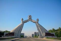 Monumento de la reunificación, Pyongyang, Norte-Corea Foto de archivo