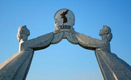 Monumento de la reunificación, Pyongyang, Norte-Corea Imagenes de archivo