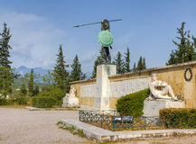 Monumento de Leonidas, Thermopylae, Greece Fotos de Stock