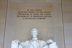 Monumento de Lincoln, Washington DC Foto de archivo