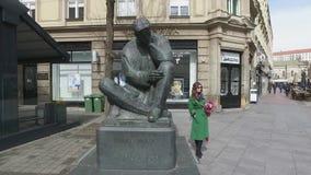 Monumento de Nikola Tesla em Zagreb, Croácia video estoque