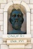 Monumento de Onufri o de Onouphrios de Neokastro en Berat, Albania imagen de archivo