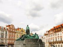 Monumento de Praga en el cuadrado de la ciudad Fotos de archivo libres de regalías