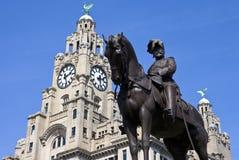 Monumento de rey Edward VII en Liverpool Foto de archivo libre de regalías