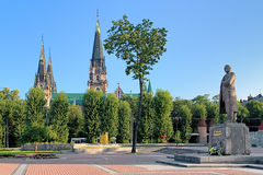 Monumento de Stepan Bandera em Lviv, Ucrânia Foto de Stock Royalty Free