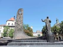 Monumento de Taras Shevchenko em Lvov, Ucrânia Foto de Stock