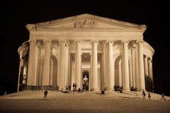 Monumento de Thomas Jefferson en la noche Fotos de archivo libres de regalías