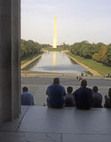 Monumento de Washington del monumento de Lincon Imagenes de archivo