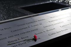 Monumento de WTC, inscripciones Fotos de archivo libres de regalías