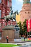 Monumento de Zhukov del mariscal en Moscú fotografía de archivo
