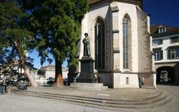 Monumento de Zurich Zwingli Imagenes de archivo