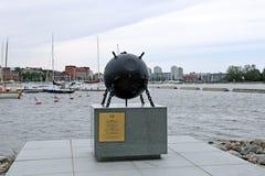 Monumento dedicado ao demining dos sappers o Golfo da Finlândia Imagens de Stock