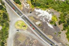 Monumento degli uccelli nel colpo dell'antenna di Tungurahua Fotografia Stock