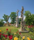 Monumento del Calvary cerca de la abadía benedictina de Tihany en Hungría Imagen de archivo