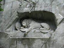 Monumento del leone dell'Erbaspagna, Svizzera Fotografie Stock