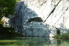 Monumento del leone di Lucerna Immagini Stock