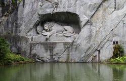 Monumento del leone in erba medica, Svizzera Fotografia Stock