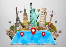 Monumento del mondo su una mappa Immagini Stock