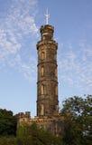 Monumento del Nelson sulla collina di Calton a Edinburgh Immagine Stock