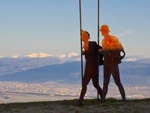 Monumento del pellegrino, Camino de Santiago, Navarre Fotografia Stock Libera da Diritti