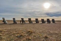 Monumento del ranch di Cadillac a Amarillo, TX immagine stock