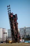 Monumento del tren en el Wroclaw. Fotos de archivo