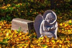 Monumento della chiesa nel mezzo delle foglie gialle fotografia stock libera da diritti