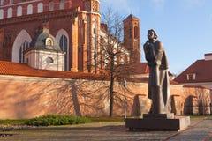 Monumento di Adam Mickiewicz a Vilnius Immagine Stock